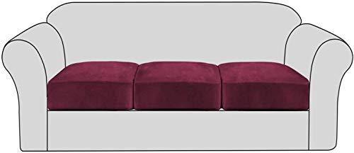 GCP Funda de cojín de sofá Antideslizante de Terciopelo elástico - Fundas de Asiento de sofá extraíbles con Fondo elástico, Fundas de Muebles elásticos Lavables para niños y Mascotas (Rojo Vino,