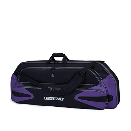 "Legend Monstro Compound Bow Soft Case with Protective Padding - 44"" Interior Storage Space for Hunting Accessories, Arrow Tube Holder and Supplies (Black/Purple)"