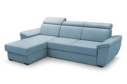 MOEBLO Sofa mit Schlaffunktion und Bettkasten, Couch für Wohnzimmer, Schlafsofa Federkern Sofagarnitur Polstersofa Wohnlandschaft mit Bettfunktion - Alano (Blau, Ecksofa Links)
