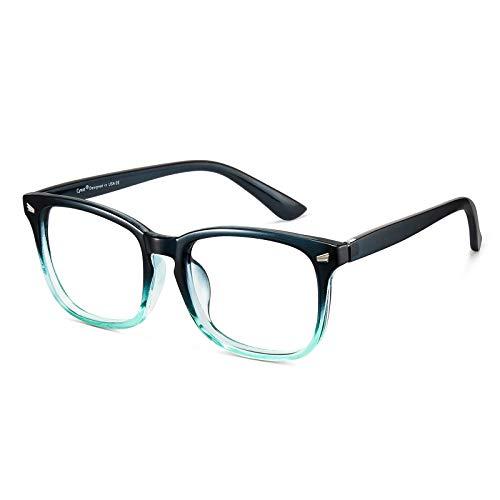 Cyxus Gafas de Filtro de Luz Azul Lentes Antireflejantes [Anti Tensión de Ojos] Gafa de Computadora para Mujer y Hombres (Lentes Transparentes) (Marco Verde Degradado 8082)