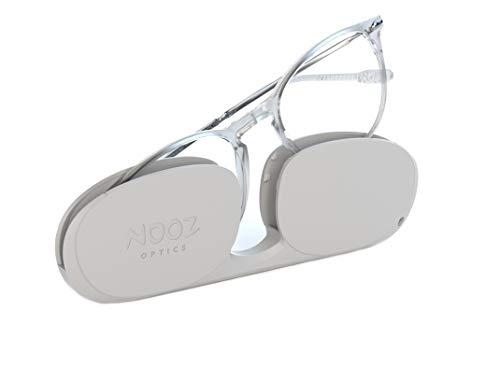 Nooz Optics - Lesebrille - Essential Alba - Ovale Form - Ultra leichtee Nylonrahmen - Ultra-kompaktes Etui für den täglichen Gebrauch - 6 Farben - Männer und Frauen,Crystal,+1