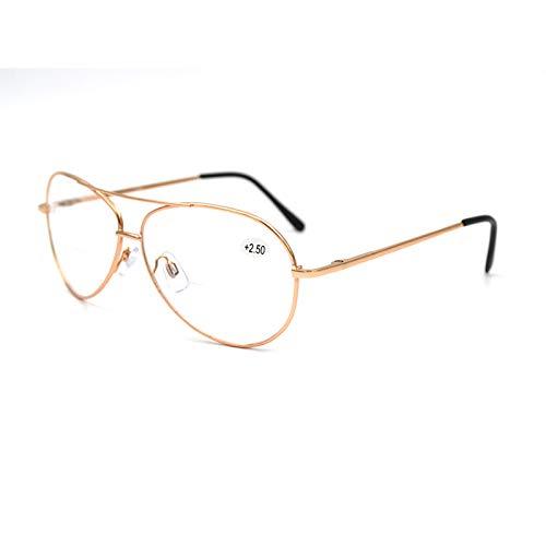 Xin Hai Yuan Gafas De Lectura Unisex con Enfoque Bifocal, Lupa, Gafas De Piloto Doradas, Gafas De Presbicia, Gafas De Presbicia De Doble Haz