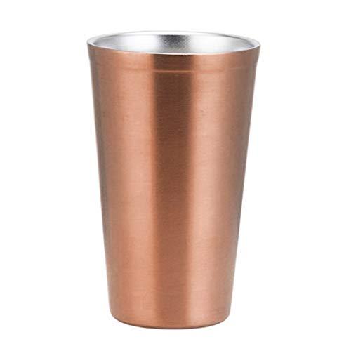 osyare Taza de agua, 480ML 304 de Acero Inoxidable de Doble Capa Anti-Caída de la Bebida de la Copa de Cerveza de Vidrio de Agua de la Taza