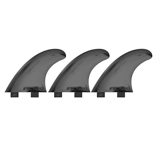 MAGT Aleta de Tabla de Surf, 3Pcs/Set Durable FCS G5 Aleta de Tabla de Surf para Longboard Tabla de Surf y Paddleboard (Negro/Blanco)(Negro)