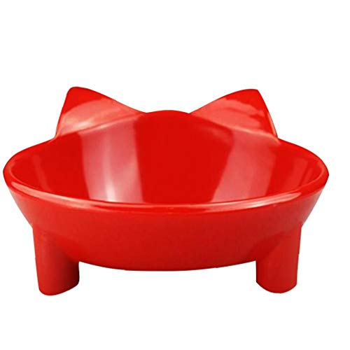 Gato Agua recipiente poco profundo Comedero Antideslizante Comedero gato Plato Tazón Comedero alimentaria para el socorro de los bigotes de fatiga alimentos para mascotas y cuencos de agua (rojo)