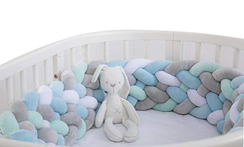 Almohadillas de parachoques de valla de cuna para bebés Guarnición de seguridad trenzada de cama de guardería con felpa anudada, protector de cuna, decoración de la habitación de los niños, 2.2M