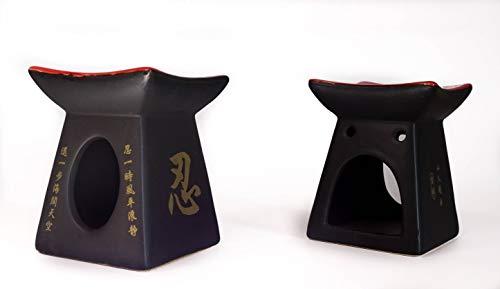 Conjunto de 2 Quemadores de Aceites Esenciales de Cerámica con Motivos Japoneses - Zen. Incluye 2 Velas / 7,5x10cm