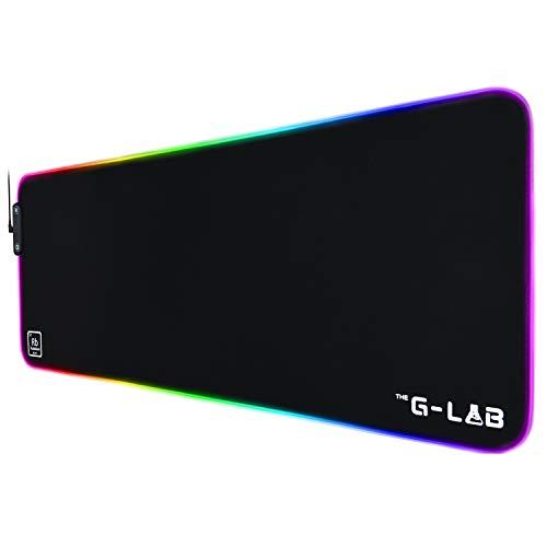 The G-Lab Pad Rubidium - Tapis de Souris Gaming RGB - Tapis de Souris Gamer XXL - Rétroéclairage LED - Hydrorésistant - Tissu Haute Précision - Base Antidérapante en Caoutchouc - 800x300x3 mm