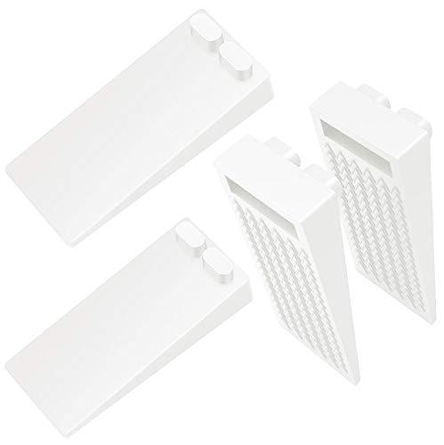 Tope de Puerta para Suelo, [Set de 4] Cuña Puerta de Goma Antideslizante Protección de Pared y Muebles Blanco