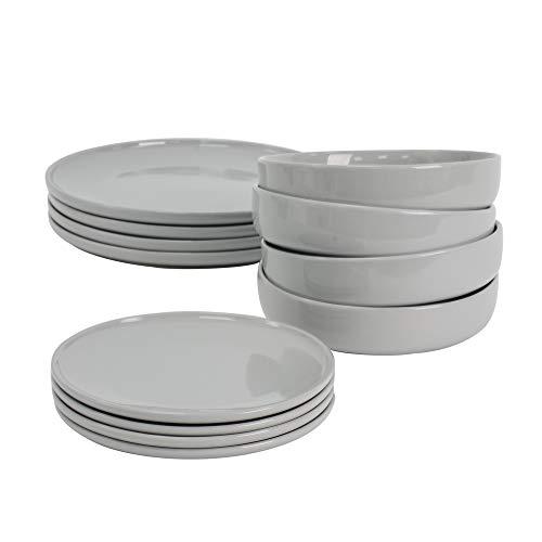 ProCook Stockholm Steinzeug Tafelservice - 12-teilig - Geschirrset - im skandinavischen Stil - Tafelgeschirr - grau