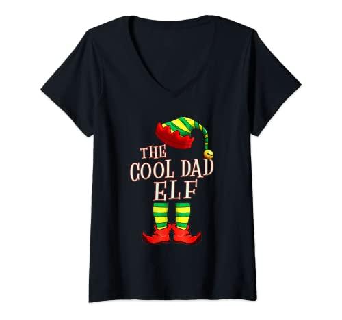 Mujer The Cool Dad Elf Squad PJ Pijama familiar a juego de Navidad Camiseta Cuello V
