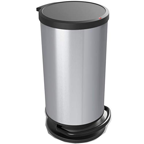 Rotho Paso Mülleimer 30l mit Deckel, Kunststoff (PP) BPA-frei, silber metallic, 30l (35,7 x 30,2 x 59,2 cm)