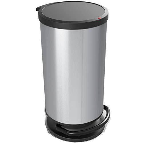 Paso, Cubo de basura de 30 litros con tapa, Plástico PP sin BPA, plata metálica, 30l 35.7 x 30.2 x 59.2 cm