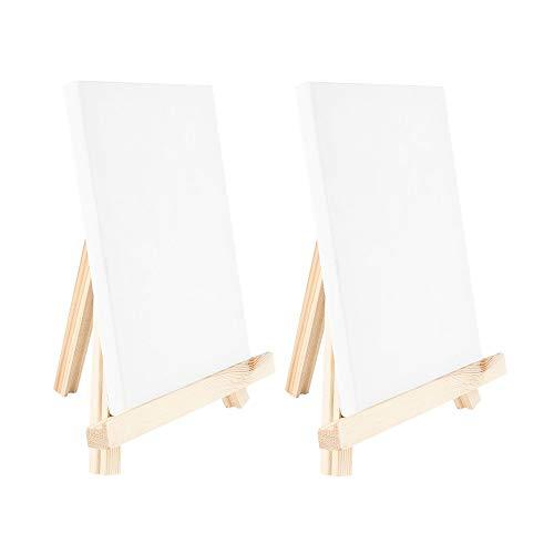 Ideen mit Herz Mini-Staffeleien mit Leinwand | Mini-Leinwände auf Keilrahmen, weiß | Holz-Staffeleien | Tischdeko (Leinwand 18 x 12 cm | Staffelei 20 x 16 cm | 2 Stück)