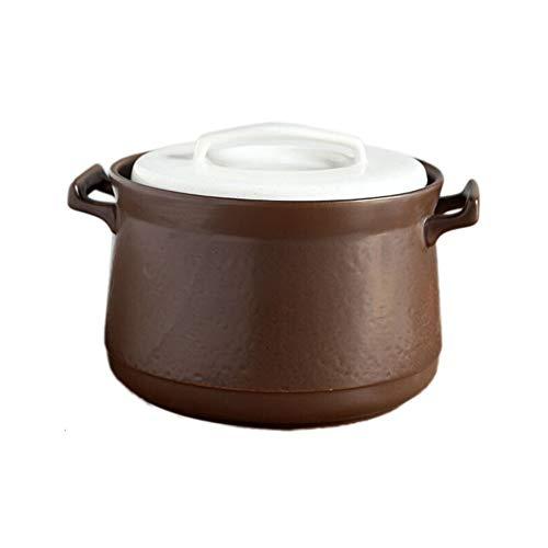 Cazuela hierro,Cazuelas Terrinas,Cacerolas y cazuelas, Cacerola refractaria de cerámica blanca pura con tapa, olla de sopa resistente a la sequedad, olla de piedra, estufa de gas, estufa eléctrica d