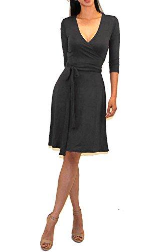 Vivicastle vestido midi feminino com decote em V e manga 3/4 falso envelope na cintura, Dd69, Ch.gray, S