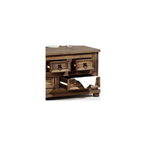 Mexico Möbel Truhentisch TEQUILA mit 5 Schubladen in braun, 92x87x45cm - 2