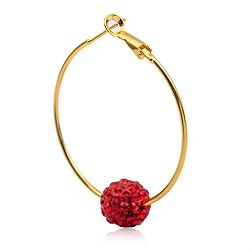 LULI French Style Oval Ball Earrings Temperament Metal Geometric Personality Ear Ornaments (Color : Red)