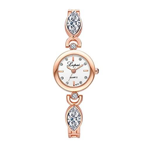 Moda Moda Pequeña dial Pulsera Reloj Analógico Rhinestone Rhinestone Reloj con Brazalete de Acero Reloj de Pulsera de Cristal Batería incorporada (Cara Blanca, Dorado)