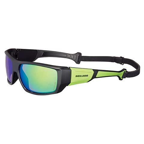 Occhiali GALLEGGIANTI a Specchio Polarizzati, Taglia Unica, Regolabili per Sport Acquatici, Windsurf, Kitesurf, Wakeboard, Moto d'Acqua - SeaDoo (Verde)