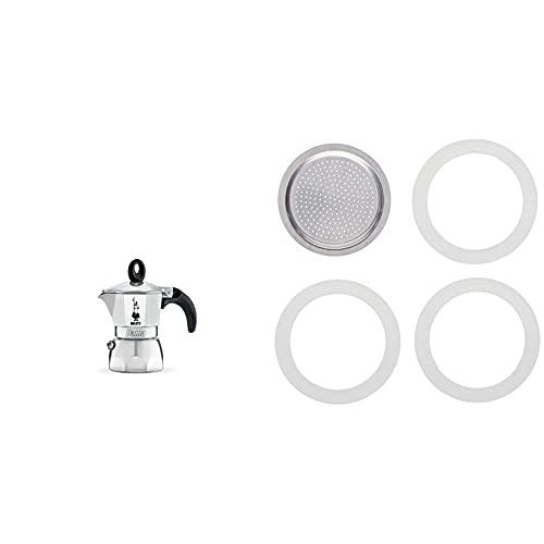 Bialetti Moka Dama Caffettiera, Alluminio, Argento, 1 Tazza & Moka Express Con 3 Guarnizioni E 1 Piastrina , 1 Tazza, Alluminio, Bianco