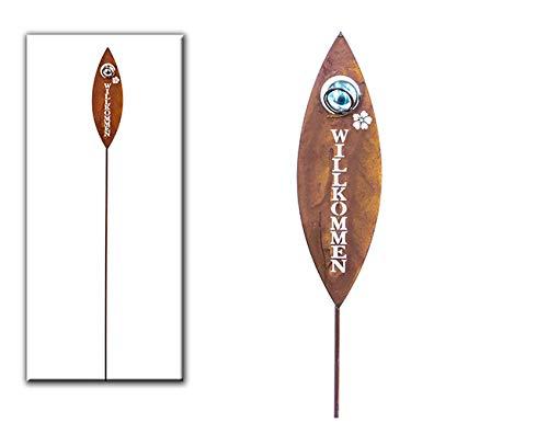 Gartenstecker Willkommen Metall silber/rost H 100 cm Beetstecker Stecker Gartenstab Deko-Stecker Deko-Schild Gartenschild