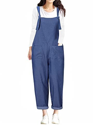Style Dome Latzhose Damen Denim Oversize Retro Overall Jumpsuit Loose Playsuit Lange Rompers mit Taschen Dunkelblau-D44096 XL