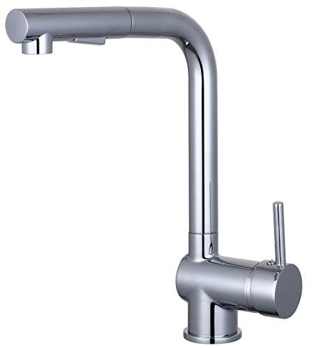 EISL NI183ARTCR wastafelkraan COOL, keukenkraan met hoge uitloop en vaatdouche, eengreepsmengkraan, chroom,