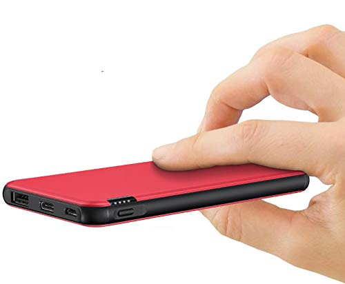 ockered Powerbank 10000mAh, Power Bank Externer Akku, 2.4A Klein Portable Charge Tragbares Ladegerät mit USB C/Micro für Handy, iPhone