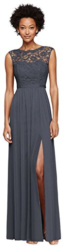 Long Bridesmaid Dress with Lace Bodice Style F19328, Pewter, 12