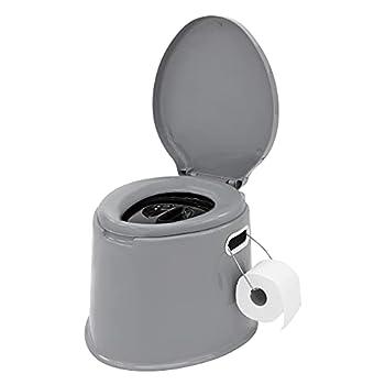 ECD Germany Toilette de Camping Portable 5L avec Porte-Papier et Seau Intérieur Amovible, Gris/Noir, Chargeable jusqu'à 200 kg, en Plastique PP, Toilette Extérieure Mobile de Voyage Randonnée Bivouac