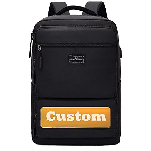 Claiyi Bolsa de Nombre Personalizada Personalizada Mochila de Viaje para 15.6 portátil portátil Puerto portátil de 14 Pulgadas (Color : Black, Size : One Size)