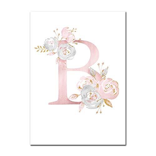 Baby Poster Personalisierte Mädchenname Benutzerdefinierte Poster Kinderzimmer Drucke Rosa Blumen Wandkunst Leinwand Malerei Bilder Für Mädchen Zimmer B 40X60cm Kein Rahmen
