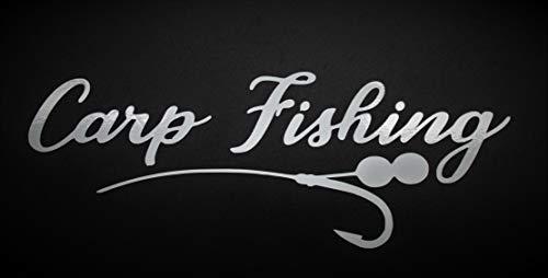 Carp Fishing Pegatinas 19 x 7 cm – Auto Pegatinas Blanco – Pegatinas impermeables y duraderas – Carp Fishing Pegatinas Auto