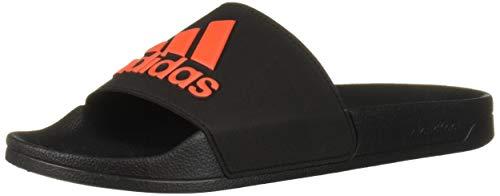 adidas Men's Adilette Shower Slides Sport Sandal, Black/Orange, 11 US