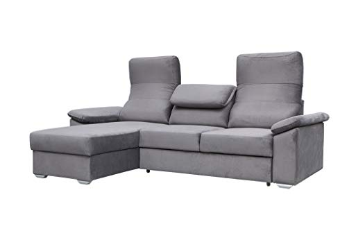 MOEBLO Ecksofa mit Schlaffunktion Eckcouch mit Bettkasten Sofa Couch L-Form Polsterecke - Fulda (Grau, Ecksofa Links)