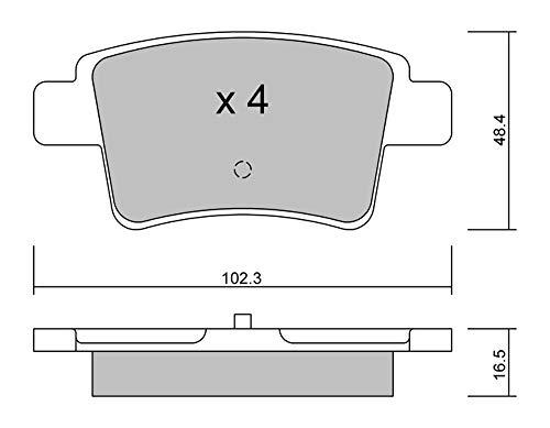 metelligroup 22-0801-0 Pastiglie Freno posteriori, Made in Italy, Pezzo di Ricambio per Auto   Automobile, Kit da 4 Pezzi, Certificate ECE R90, Prive di Rame