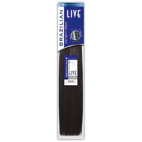 "2-PACK DEALS ! Sensationnel Remy Human Hair Weave LIVE Brazilian Keratin Remy Yaki (10S"", 1B)"