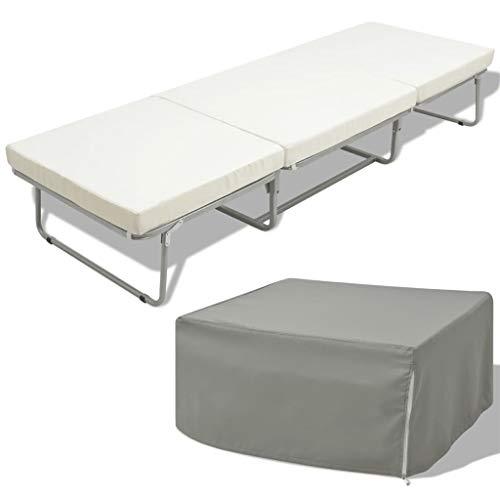 FAMIROSA Cama/Taburete Plegable con colchón Acero Blanco 70x200 cm