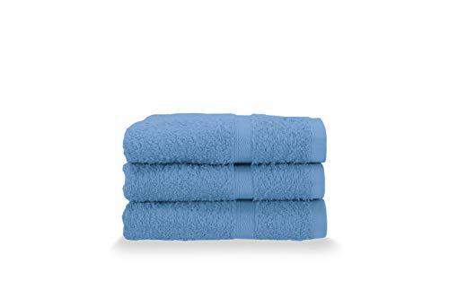 Gabel Asciugamani Ospite, Spugna di Puro Cotone Idrofilo, 40 x 60 cm, Bluette, Set da 3 Pezzi