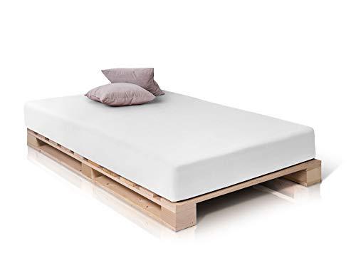 PALETTI Palettenbett Massivholzbett Holzbett Bett aus Paletten mit 11 Leisten, Palettenmöbel Made in Germany, 140 x 200 cm, Fichte Natur