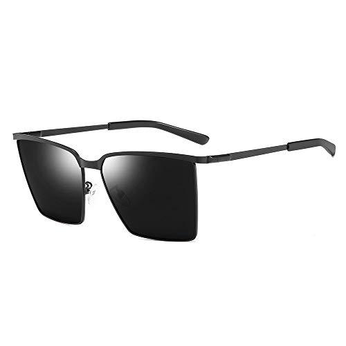 TYXL Sunglasses Viaje Playa Deportes Al Aire Libre Ciclismo Hombres/Mujeres Gafas De Sol Polarizadas Protección UV Deslumbramiento Marco De Metal Ultra Ligero (Color : Black)