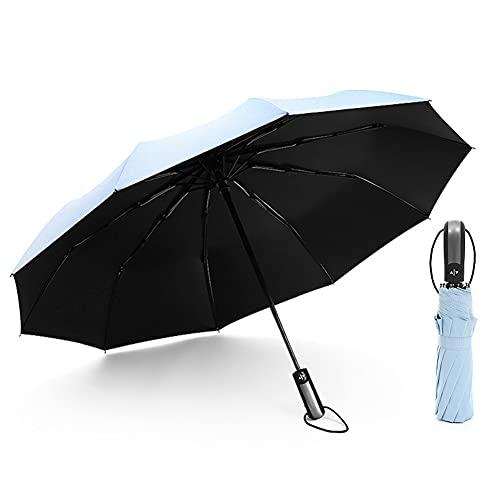 Paraguas Plegable Automático Impermeable,Ligero a Prueba de Viento y Agua Anti UV Durable Paraguas de Viaje (Light Blue)