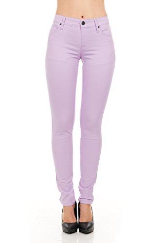 No Fuze Women's Skinny Comfy 5 Pocket Stretch Color Jean Pants Lavender Size 5/6