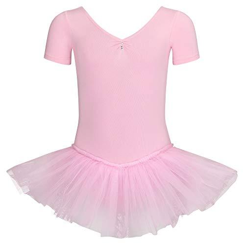 tanzmuster ® Ballettkleid Mädchen Kurzarm - Nele - (Größe 92-170) aus Baumwolle mit Glitzersteinen, Ballettbody mit Tutu in rosa, Größe 116/122