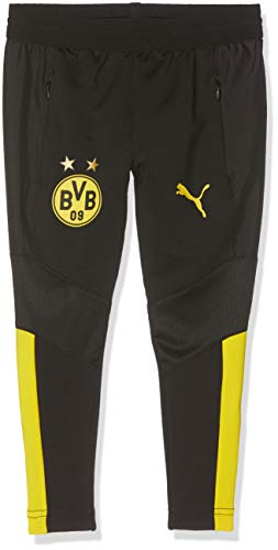 PUMA Kinder BVB Training Pants Pro Jr with Zip Pockets Trainingshose, Black/Cyber Yellow, 116