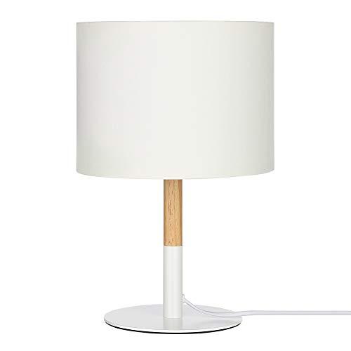 EDISHINE Lampe de Chevet en Bois avec Abat-jour Lin Blanc Lampe de Table Vintage E27 Douille Style Scandinave pour Bureau Salon Chambre Certifié CE