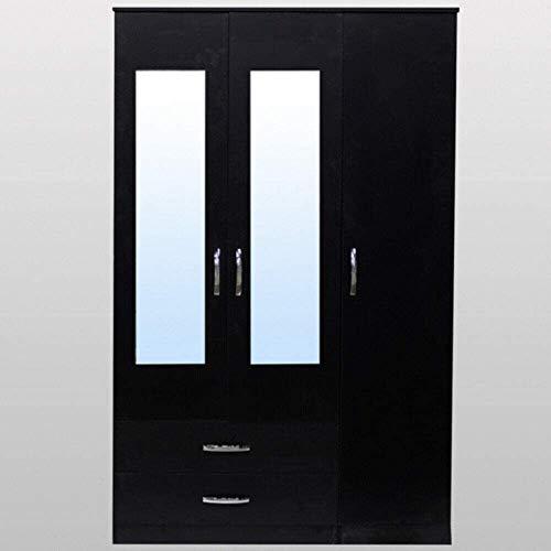 Armadio da appendere in legno nordico con porta scorrevole e minimalista, moderno, piccolo appartamento, camera da letto, casa, con due ante a specchio a tutta lunghezza, colore nero