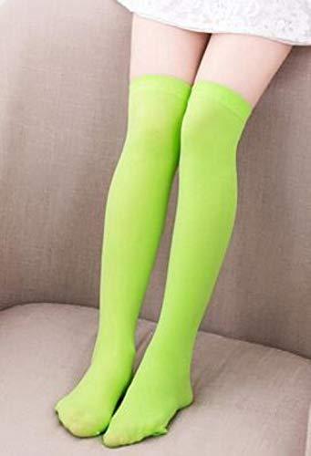 Sosa Frauen Kniehohe Candy Mesh Socken Damen Sheer Red Lace Oberschenkel High Fancy Dress Socken, neongrün, 55cm