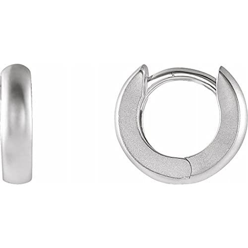 Pendientes de aro de plata de ley 925 con bisagras pulidas de 9,5 mm para mujer